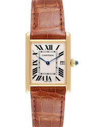 Cartier Silver 18k Yellow Gold Tank Louis W1529756 Men's Wristwatch 25x33 Mm - Metallic