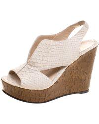 Fendi - Off Embossed Python Leather Cork Wedge Sandals - Lyst