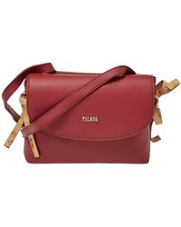 Alviero Martini 1A Classe Red/tan Geo Leather And Coated Canvas Flap Crosbbody Bag