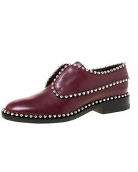 Alexander Wang Burgundy Leather Stud Trim Brogues Loafers - Multicolour