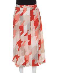 Ferragamo Multicolour Houndstooth Pattern Pleated Silk Skirt