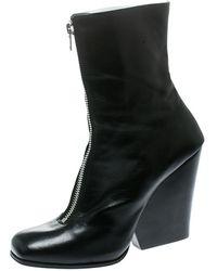 Celine Black Leather Square Toe Calf Length Boots