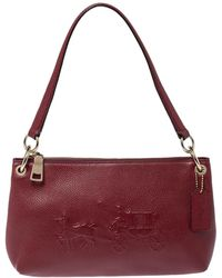 COACH Burgundy Leather Embossed Horse & Carriage Cross Body Bag - Multicolor