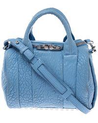 Alexander Wang Sky Blue Textured Leather Rocco Duffel Bag
