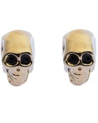 Givenchy Double Sided Skull Crystal Gold Tone Magnetic Earrings - Metallic