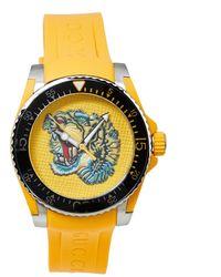 Gucci Yellow Stainless Steel Tiger Motif Dive Ya136317 Wristwatch