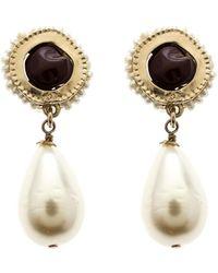 Chanel - Cc Gripoix Faux Pearl Tone Clip-on Drop Earrings - Lyst