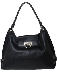 Ferragamo Black Leather Sofia Hobo