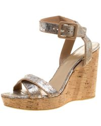 Stuart Weitzman Metallic Silver Embossed Suede Cross Strap Cork Wedge Sandals Size 40.5