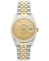 Rolex Champagne 18k Yellow Gold And Stainless Steel Datejust 16233 Men's Wristwatch 36mm - Metallic