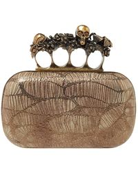 Alexander McQueen Metallic Gold/beige Leather Skull Knuckle Box Clutch