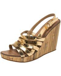 Miu Miu Gold Leather Panel Bamboo Wedge Sandals - Metallic