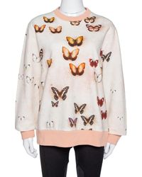 Givenchy Peach Butterfly Print Cotton Crew Neck Sweater - Pink
