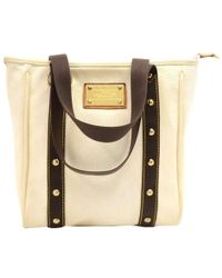 Louis Vuitton - Off White Canvas Antigua Cabas Mm Bag - Lyst