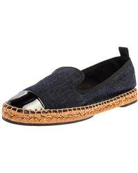 Fendi Indigo Dark Blue Denim Junia Patent Leather Cap Toe Espadrilles