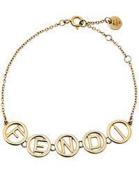 Fendi Logo Charm Gold Tone Bracelet - Metallic