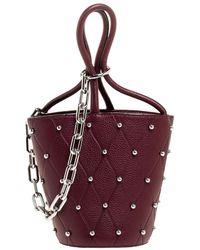 Alexander Wang Burgundy Leather Mini Roxy Studded Bucket Bag - Multicolour
