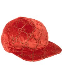 Gucci Red GG Velvet Baseball Cap