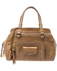 Tod's Brown Lizard Embossed Satchel