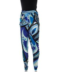 Emilio Pucci Multicolor Printed Jersey Draped Pants S - Blue