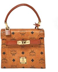 MCM Cognac Visetos Coated Canvas And Leather Heritage Top Handle Bag - Brown