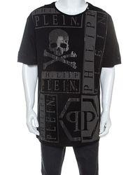 Philipp Plein Black Cotton Embellished Skull Detail T-shirt