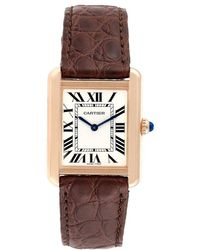 Cartier Silver 18k Rose Gold And Leather Tank Solo W5200024 Women's Wristwatch 30x23mm - Metallic