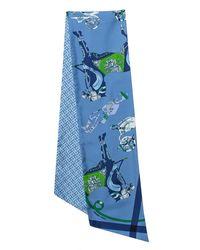 Hermès Blue Tout En Carre Chevron Silk Maxi Twilly Cut Scarf