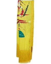 Missoni Yellow Printed Silk Tassel Detail Scarf