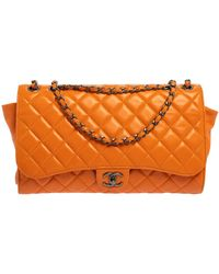 Chanel Orange Leather Grocery By Drawstring Flap Bag