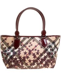 Burberry - Dark Beige/cognac Smoked Check Pvc Small Northfield Tote - Lyst