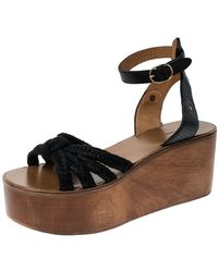 Isabel Marant Black Leather And Jute Zia Wooden Wedge Ankle Strap Sandals