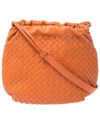 Bottega Veneta Orange Intrecciato Nappa Leather Drawstring Bag