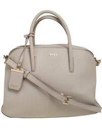 DKNY Cream Leather Satchel - Natural