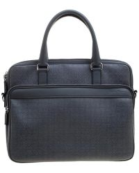 Ferragamo Grey Embossed Leather Laptop Bag - Gray