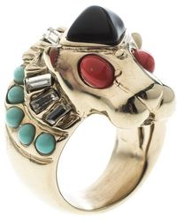 Chanel - Lion Head Multi Color Cabochon Gold Tone Cocktail Ring - Lyst