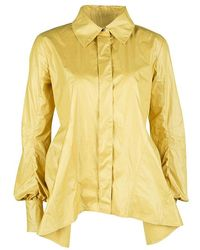 Louis Vuitton Yellow Top Stitch Detail Long Sleeve Asymmetric Shirt S