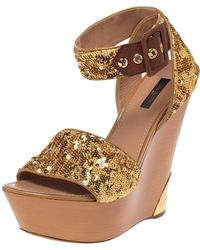 Louis Vuitton Metallic Gold Sequin Embellished Wedge Platform Ankle Strap Sandals