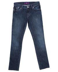 Victoria Beckham Indigo Dark Wash Faded Effect Slim Fit Denim Jeans - Blue