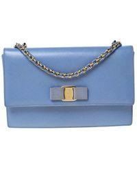 Ferragamo Light Blue Leather Ginny Shoulder Bag