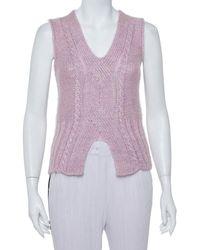 Roberto Cavalli Vintage Pink Lurex Purl Knit Sleeveless Sweater