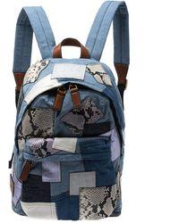 Marc Jacobs Multicolor Denim Patchwork Biker Backpack - Blue