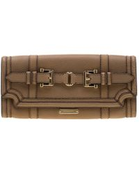 Burberry Beige Leather Buckle Fold Over Clutch - Natural