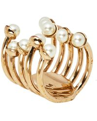 Dior Ific Faux Pearl Open Cuff Ring - Metallic