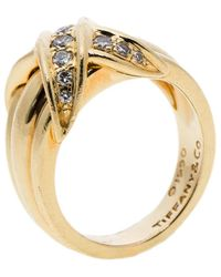 Tiffany & Co. Signature X Kiss Diamond & 18k Yellow Gold Ring Size 53 - Metallic