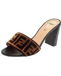Fendi Brown/black Ff Logo Velvet Slide Sandals