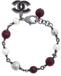 Chanel - Faux Pearl Enamel Cc Charm Beaded Bracelet - Lyst