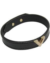 Louis Vuitton - Noir Epi Leather V Bracelet - Lyst