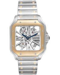 Cartier Silver 18k Yellow Gold And Stainless Steel Skeleton Horloge Santos Whsa0019 Wristwatch 40 X 40 Mm - Metallic