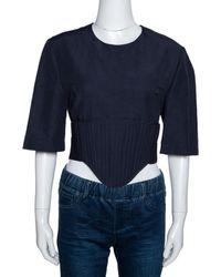 Stella McCartney Navy Blue Linen Blend Corset Top